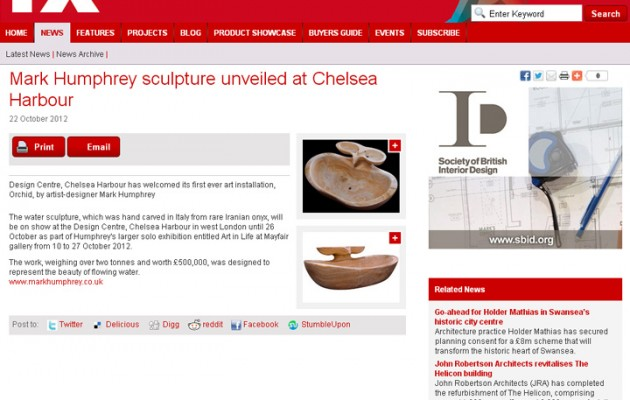 FX Magazine Oct 2012 – Mark Humphrey sculpture unveiled at Chelsea Harbour