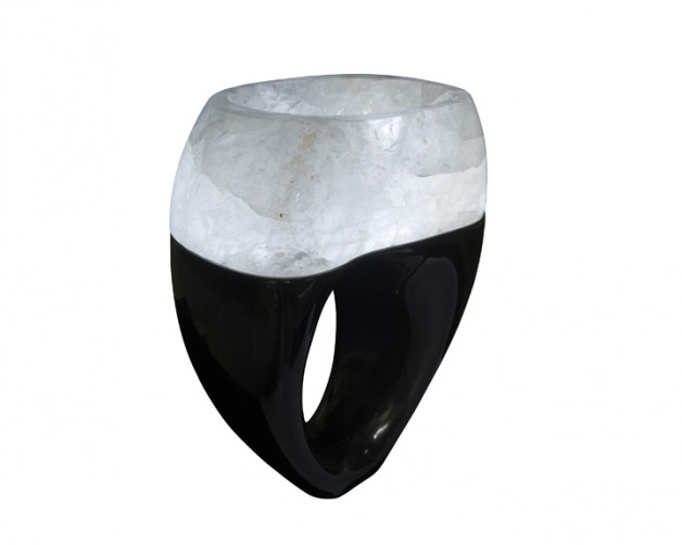 Marble vanity with rock crystal basin